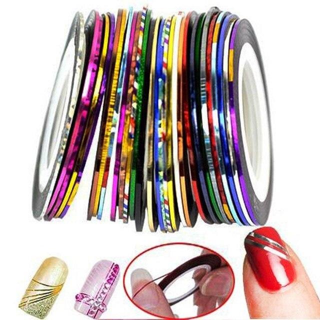 30 шт./пакет 2 мм/3 мм Разноцветные радий линия для ногтей Стикеры ролл Чередование ленты линия Nail Art украшения Стикеры клей Art Придерживайтесь