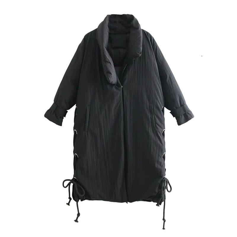 Épais Nouveau Vêtements Paragraphe 2018 Coton Manches Chaud Lâche Noir Hiver Longues Long Manteau Dames Côté À Sangles q55TZO