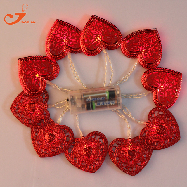 10led Fairy Lights Valentine S Day Red Heart Shape Light Party