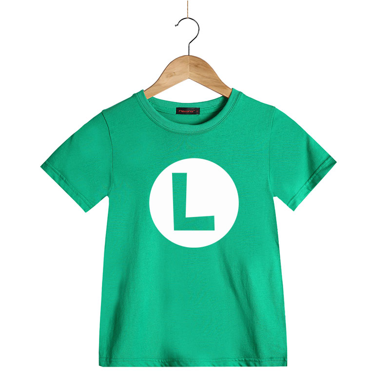 Super Mario Bros. Kids Cosplay T Shirts Luigi/Wario/Princess Peach/Waluigi/Mario Boys Girls Summer Clothes Summer T-shirt Tops
