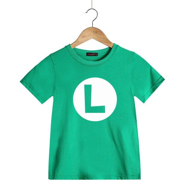 b20250dacc6f3 Super Mario Bros. crianças Cosplay Camiseta Luigi Wario Princesa  Peach Waluigi