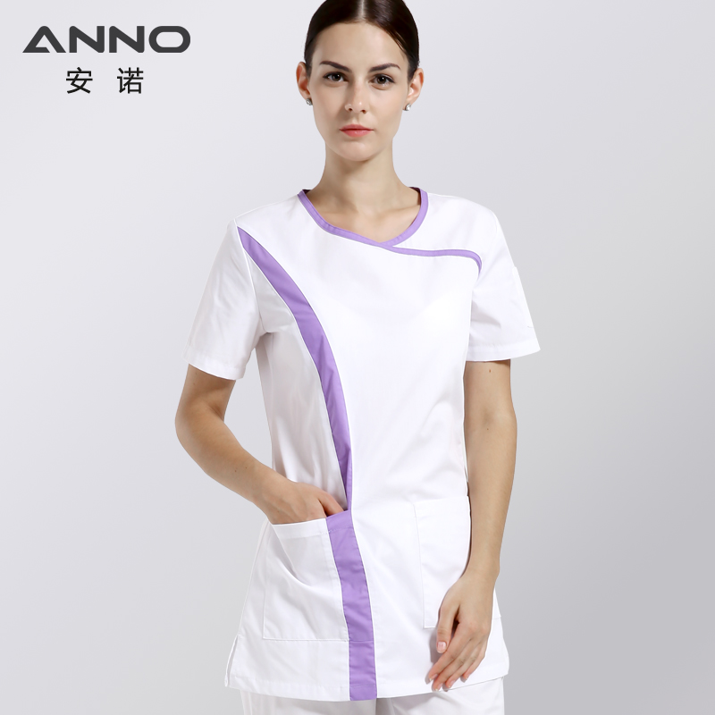 White Short Sleeves Nurse Uniforms Cotton Medical Scrubs For Women Slim Fit O Neck Summer Beauty Salon Uniforms Medical Cloths