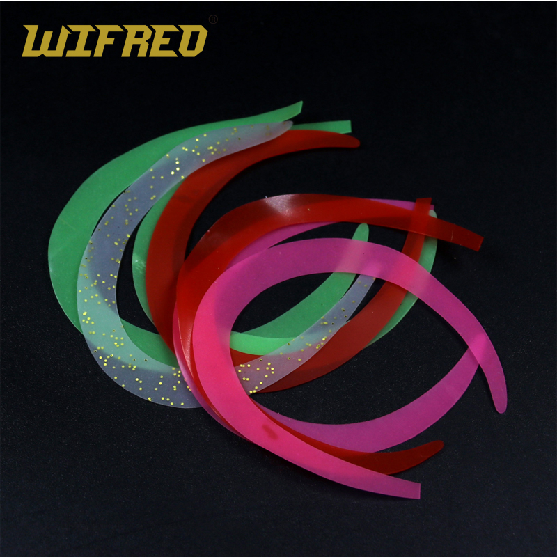 Wifreo 10pcs/bag Size M Fly Tying Wiggle Tail for Pike Salmon Saterwater Fly Tying Streamers Pink White Green Red Orange wifreo 5pcs natural color black white dot plume feather fly tying wing tail material 13 16cm length