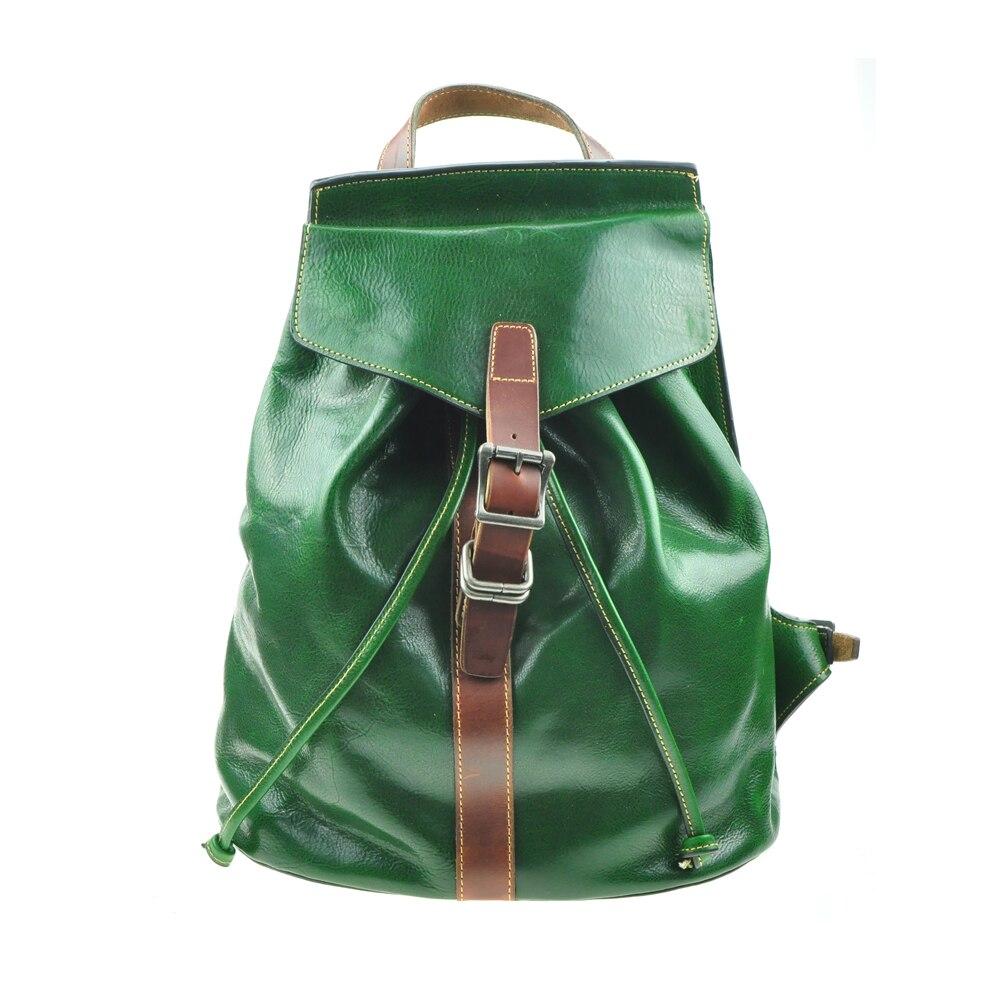 A-Pocket Genuine Full-Grain Cow Leather Magnet Buckle Drawstring Backpack & Genuine Leather Retro Travel Rucksack