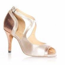 HXYOO Salsa Zapatos para Mujeres de la Danza de salón de Baile Latino Zapatos de Las Señoras de Satén Suela Blanda Flor Roja con Plata GM009