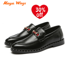 Heye Wings brand dress shoes fashion C type sideband buckle Patent leather black color mens slip on casual