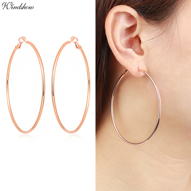 New Hiphop Rock Yellow White Gold Color Large Circle Loop Hoop Earrings For Womens S