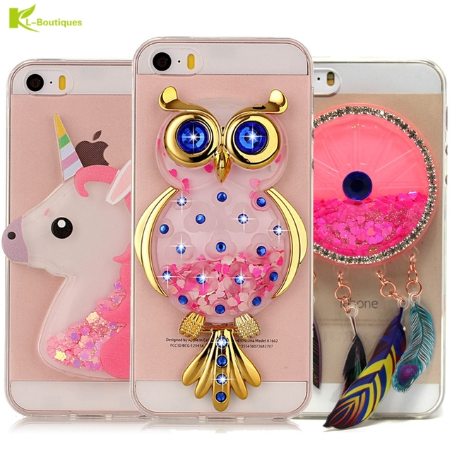 ef669ad836a Unicorn Glitter Liquid Case for iPhone 5 Cover for iPhone 5s Cases Dynamic  Cute Cartoon OWL Soft Cases for iPhone X 6s 7 8 Plus