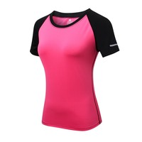 Women's Quick Drying Tees Tops Short Sleeve Fitness Clothes with Reflector for Ladies Tees Fast Dry T-shirt LL6