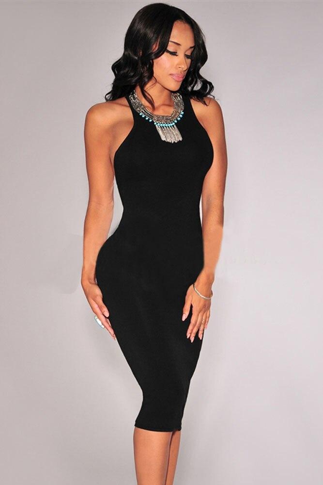 2e914f42a SeKy Party Women Summer Dresses Black Sleeveless Open Back Midi Bodycon  Dress Vestido Verao SeKy Vestidos Femininos K60329 15-in Dresses from  Women's ...