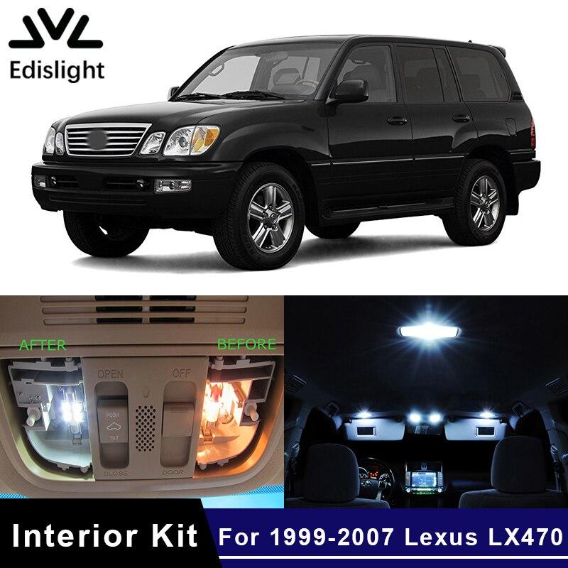 Edislight 15Pcs White Ice Blue Canbus LED Lamp Car Bulb Interior Package Kit For 1999-2007 Lexus LX470 Map Dome Trunk Door Light