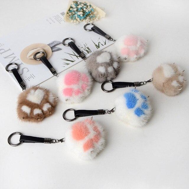 7 cor Pompom Pele De Pata Do Gato Chaveiro Chaveiros Trinket Verdadeira Pele De Vison No Saco Bonito Fofo Acessórios Pingente Keychain