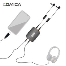 CoMica Omni-directional Dual Head Lavalier Microphone Detachable Clip-on Mic Support Power Charg Type-C Computer & 3.5mm phone(China)