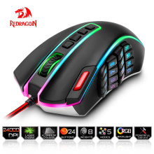 Redragon USB wired RGB Gaming Mouse 24000 DPI 24 buttons laser programmable game mice backlight ergonomic for laptop computer(China)