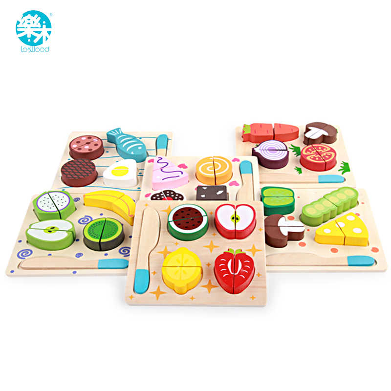 Logwood Wooden toys wooden kitchen cutting fruit and vegetables board real life toy 6 models kid children Educational baby toys
