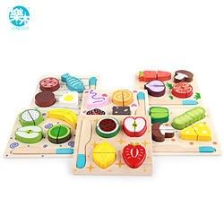 Деревянные игрушечные лошадки деревянный кухня резка фрукты и доска для резки овощей реальной жизни 6 моделей детские развивающие