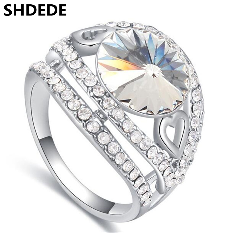 SHDEDE New Fashion Jewelry Crystal from Austrian Engagement Rings For Women Austrian Rhinestone Crystal Ring -24942