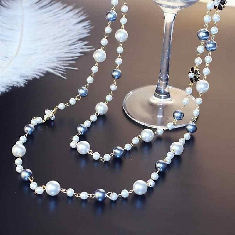 5eac35c82bab Doble capas perla simulada largo collar cadena de moda de las mujeres  collares de joyería de