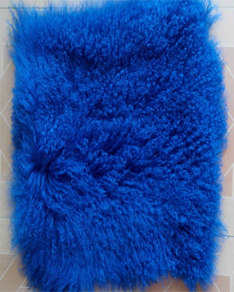 Tapis de fourrure d'agneau mongol primaire plaque de fourrure tibétaine bleu maison pour salon couverture de peau de mouton décorative jeter nouvelle perruque de poupée canapé