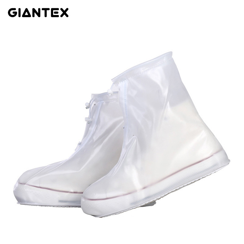 GIANTEX Men Women's Rain Waterproof Flat Ankle Boots Cover Heels Boots Shoes Covers Thicker Non-slip Platform Rain Boots