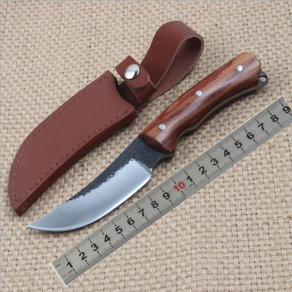 Hand-forged Bullfighting Style Straight Knife High-carbon Steel Rosewood Handle Carving Knives with Holster sickle hook sickle spring steel hand forged knives chopping knife mowing farm garden harvest knife specials