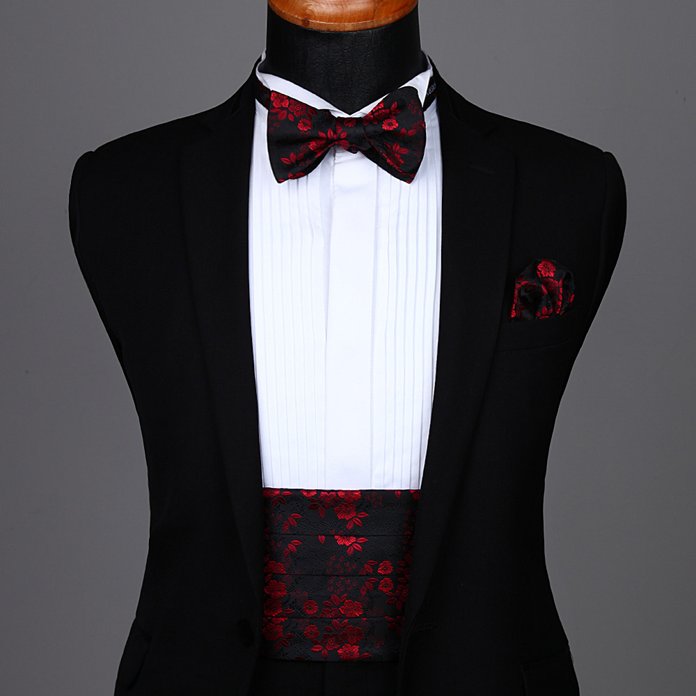 Self Bow Tie Set  Party Wedding Men's Formal Paisley Flower Solid Cummerbund Self Bow Tie & Pocket Square Set