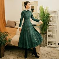 2019 mori girls spring new art retro palace college style velvet dress embroidery flowers knowledge elegant long dress wq902