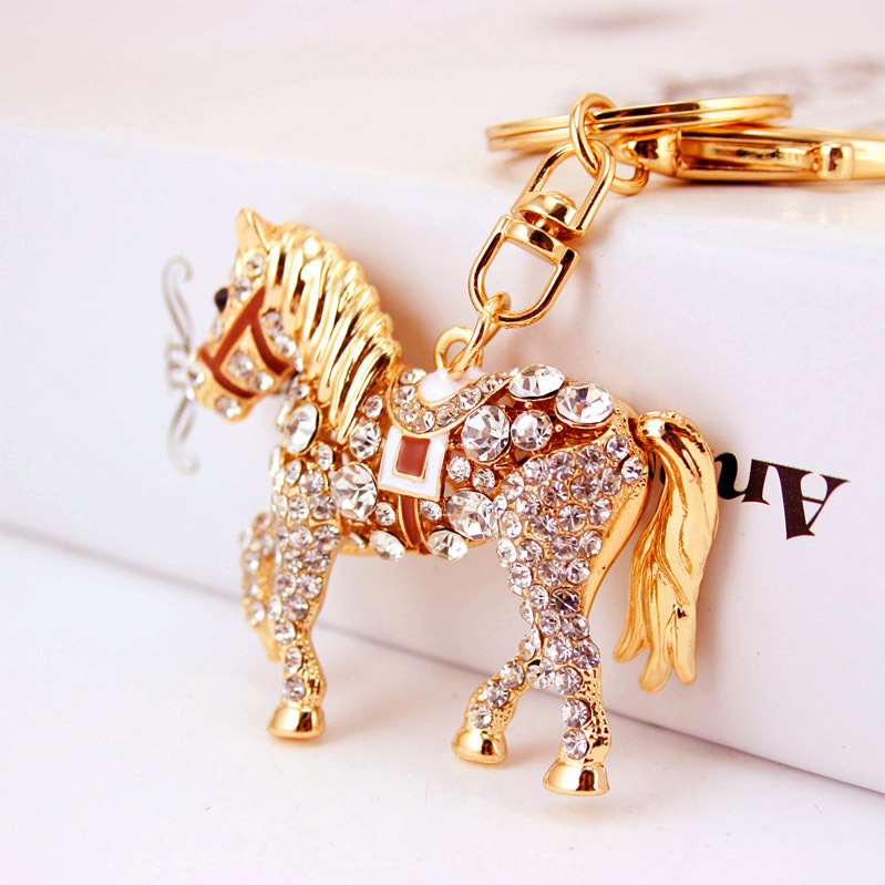 Rhinestone Crystal Lovely Horse Keychain Keyring For Car Handbag Chram Key Holder Wholesale