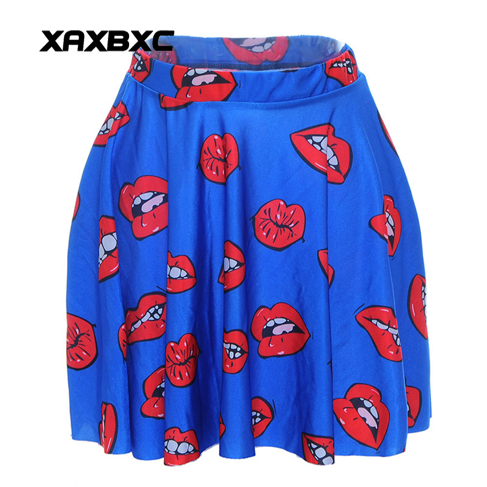 3f1bb7e8355fa ... Pleated Skirt Plus Size. NEW 1011 Summer Sexy Girl Red Lips Kiss Mouth  Printed Cheering Squad Tutu Skater Women Mini