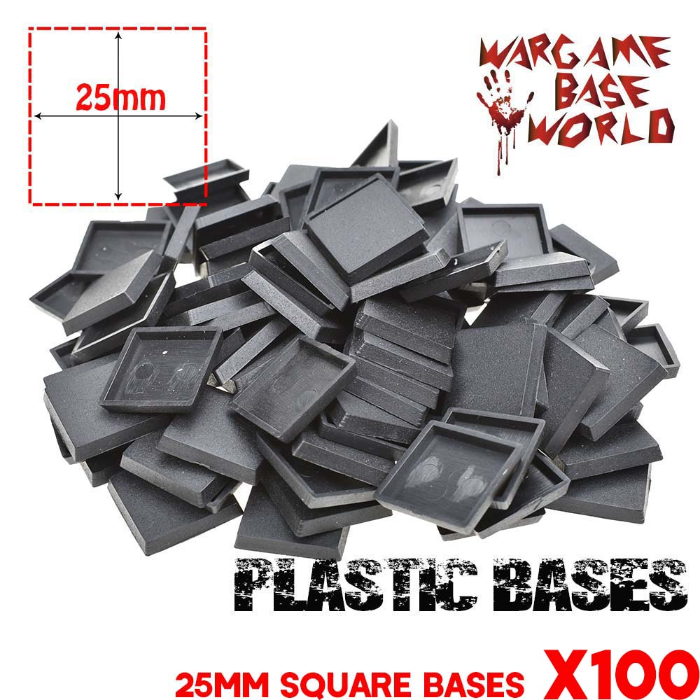 NEW Miniatures Base And Wargame Model Bases Lot Of 100 25mm Square Plastic Bases For Warhamemr