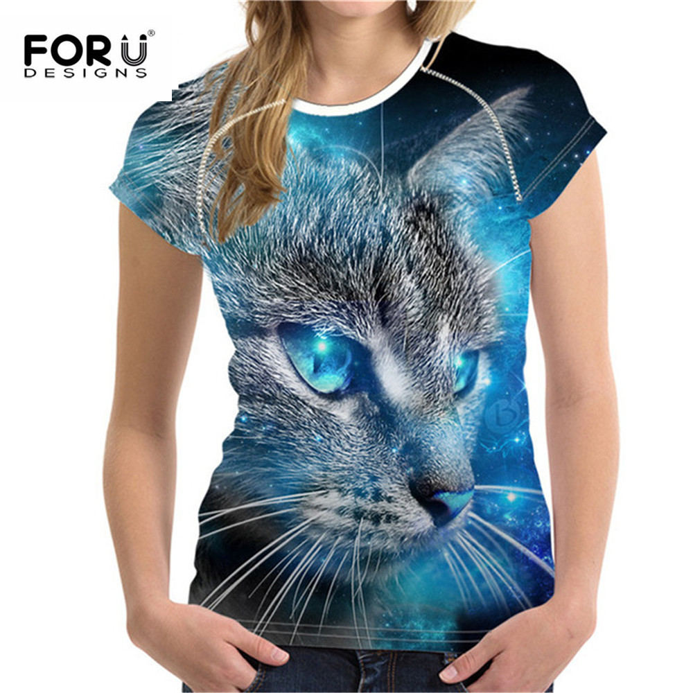 FORUDESIGNS Plus Size S-XXL Dames Zomer T-shirt 3D Printted Tshirt Voor Dames Mode Dames Tee Tops Cartoon Kattenpatroon