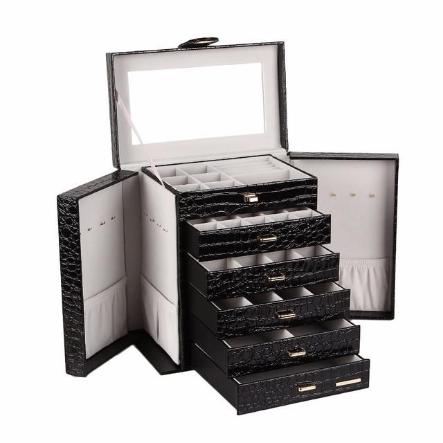Large Jewelry Box Black, White, Pink  Leather