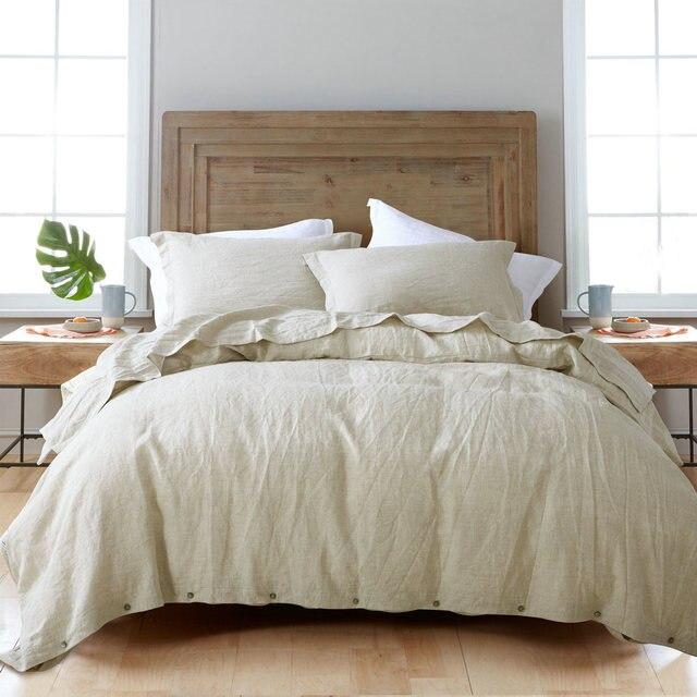 4pcs Linen Bed Sets Duvet Cover Sets 100% Pure Linen Waterwash Linen  Pillowcase Good Handfeel