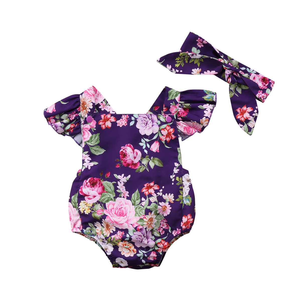 Newborn Baby Girls Cotton Romper Jumpsuit Headband Outfits Clothes