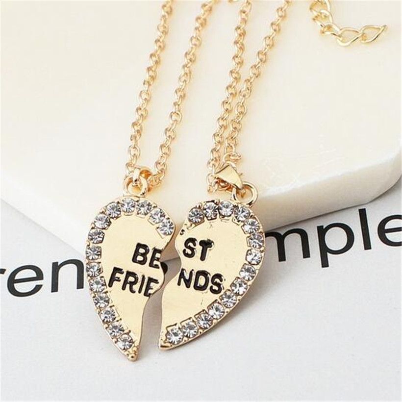 Lusion Jewelry Gold Sliver Color Best Friends Heart Pendant Neckalces Woman Simple Multilayer Statement Couple Layered Necklace