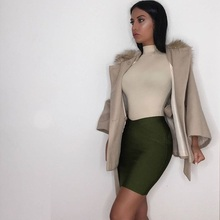3 Colors Top Quality Celebrity Black Khaki Green Rayon Bandage Skirt Party Sexy Fashion Skirt