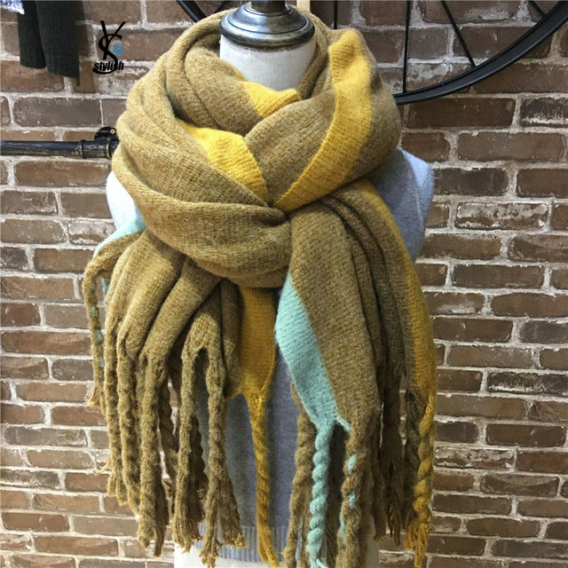 b2c4c0f9144f9 Thick Braids Knitted Scarf For ladies Hit Color Margin Pashmina Poncho Wrap  Twist Cable Chunky Tassel