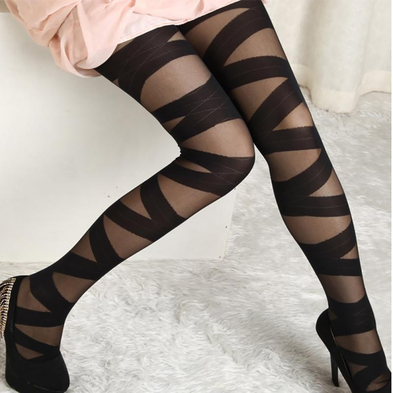 Tights Women Sexy Pantyhose Black Ripped Stretch Binding Tights Vintage Style Female Binding Stocking Underwear