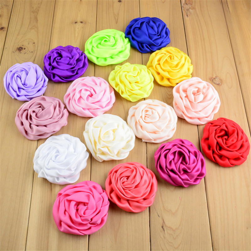 200pcs lot 25Color Wholesale Supply 3 Satin Ruched Rolled Rosettes Boutique Puff Hair Flowers U Pick