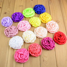 """200pcs/lot 25Color Wholesale Supply 3"""" Satin Ruched Rolled Rosettes Boutique Puff Hair Flowers U Pick Color FH39"""