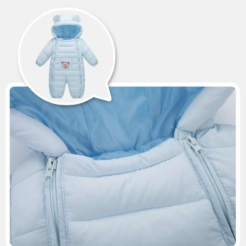 Новинка 2018 года; зимний комбинезон для малышей; комбинезоны для девочек; зимняя одежда; плотная теплая одежда для новорожденных; детская верхняя одежда с капюшоном; Одежда для мальчиков и девочек