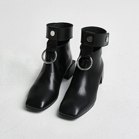 Hot 2017 Ankle Boots For Women Cut Outs Retro Martin Boots Square Toe Metal Rings
