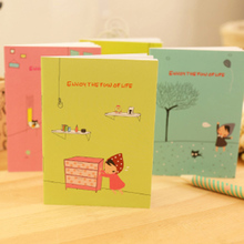 4pcs/lot 20.5*13.7cm Creative Student Cartoon Book Bloom Season Hand-Painted Pattern Notepad Korean Stationery
