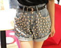 Summer women's hot shorts trousers good quality vintage round metal rivet denim shorts jeans sexy punk shorts L070