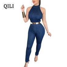 QILI Women Denim Jumpsuits Romper Sleeveless Rear Zipper Casual Jumpsuit Summer Elegant Skinny Long Pants Overalls