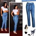 Moda De Cintura Alta das calças de Brim Das Mulheres Verão Cintura Elástica Calça Jeans Nova Mulher de Algodão Casuais Calças Jeans Fino Liso Azul Bandage