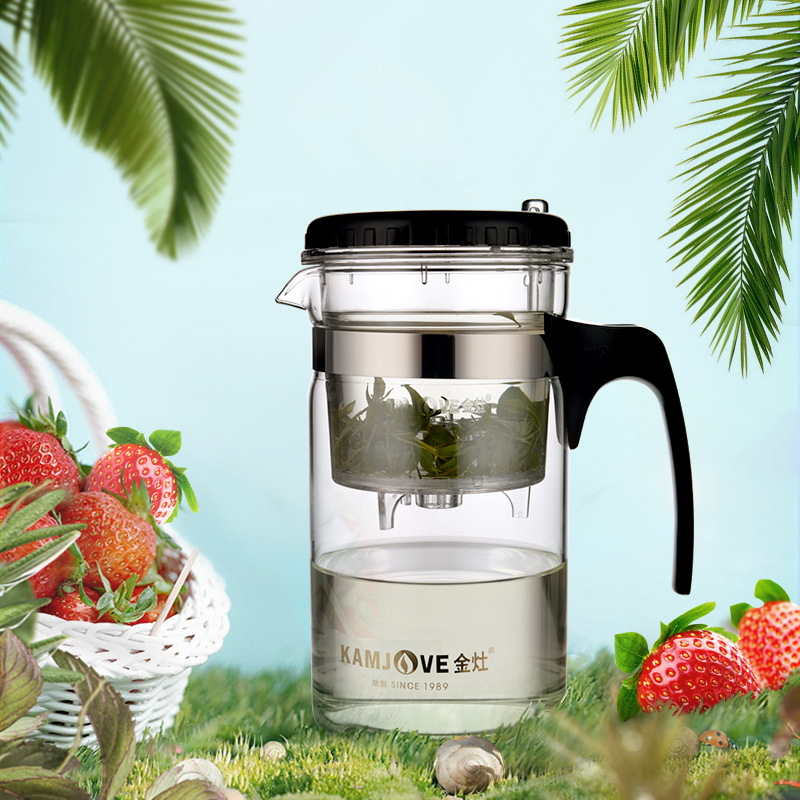 200ml 500ml 1000ml KAMJOVE Heat-resistant Glass Elegant Cup Teapot Kungfu Tea Sets Flower Mug Cup Bottle With Press Button