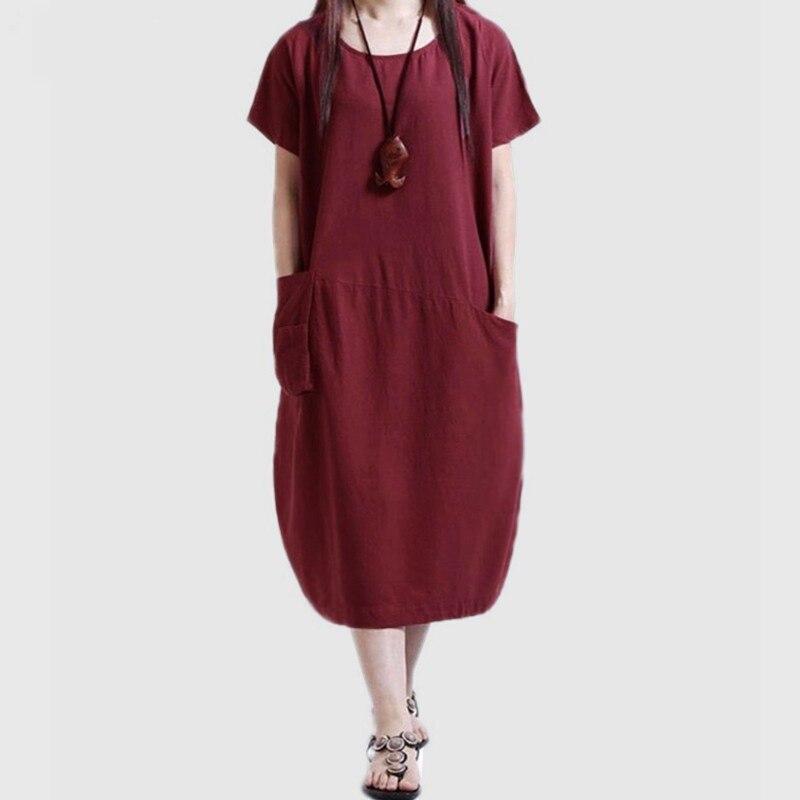 2019 Summer Vintage Dress Women Casual Loose Dress Oversized Short Sleeve Pocket  Midi Long Dress Plus 0373897f3e00