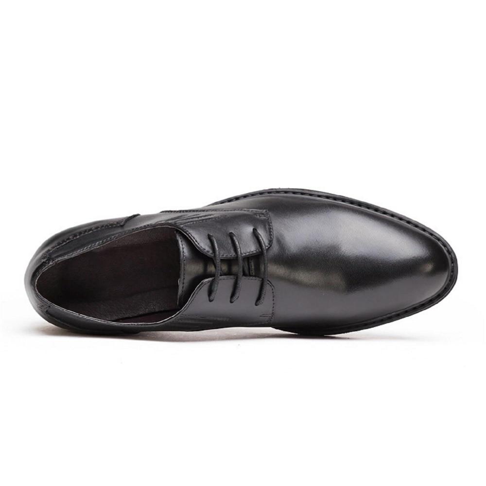 Vestido Dedo Sapatos De Couro Para Do Preto Oxford Pé Casamento Negócios Genuíno Homens chocolate Apartamentos Apontado Mycolen Moda Derby Homme Formais pqxw5nB