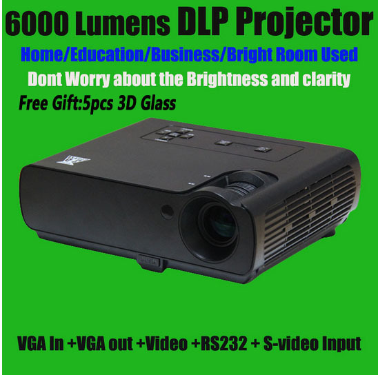 Factory Direct Sale Blue-Ray DLP FULL HD 3D Projector 800*600 Native Resolution Business Projector Pocket Projector 6000 Lumens